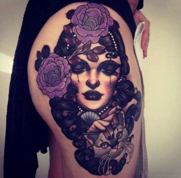 Rose And Portrait Tattoo