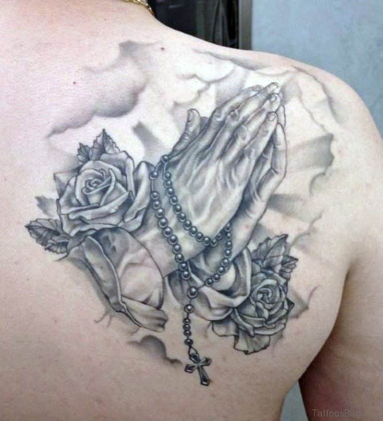 50 outstanding praying hands tattoos on shoulder for Rose tattoo on back shoulder