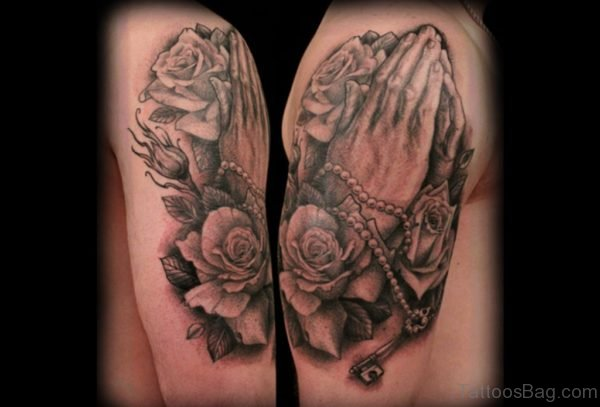 Rose And Praying Hands Tattoo On Shoulder