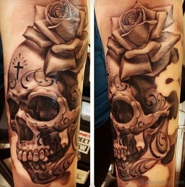 Rose And Skull Tattoo Image