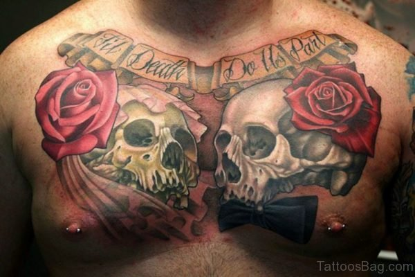 Rose And Skull Tattoo On Chest