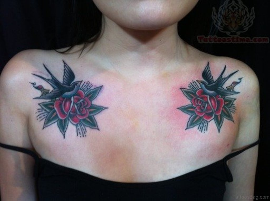 50 beautiful swallow tattoos on chest for Chest tattoos for women designs
