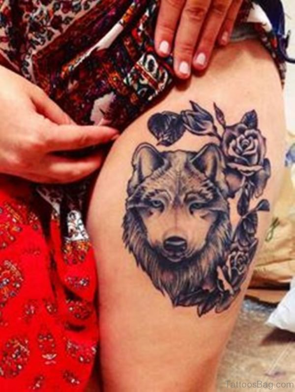 Rose And Wolf  Tattoo
