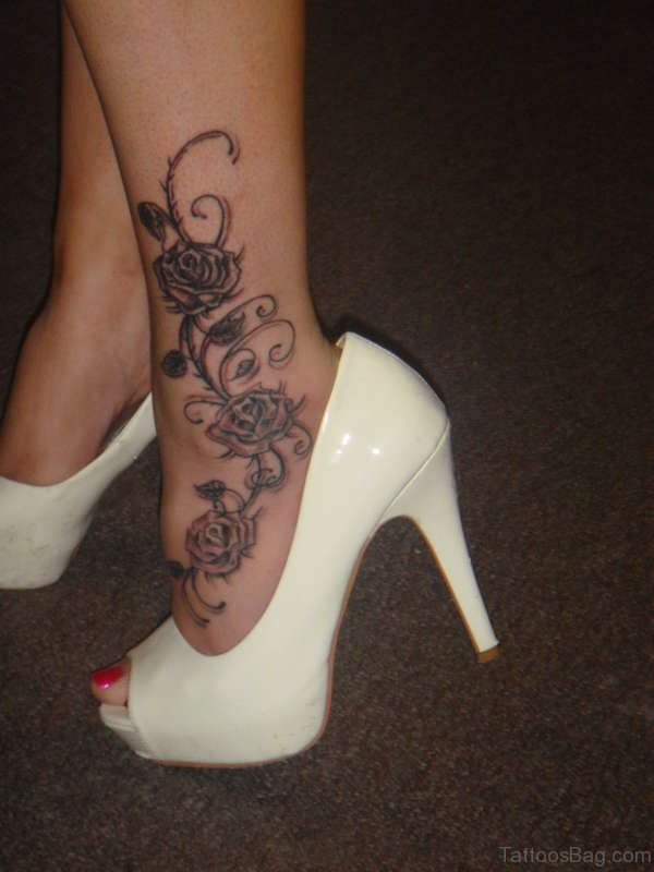 Rose Angle Ankle Tattoo