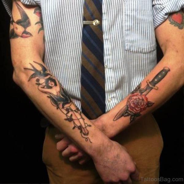 Rose Arm Dagger Tattoo