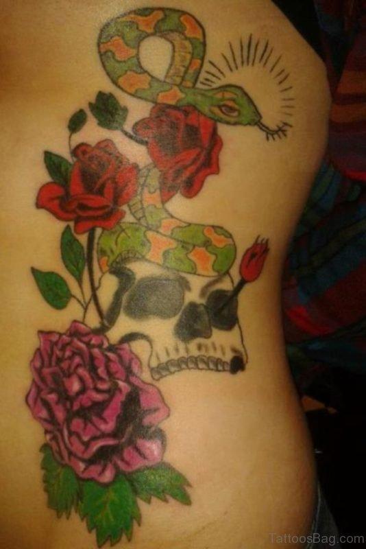 Rose Clock And Skull Tattoo