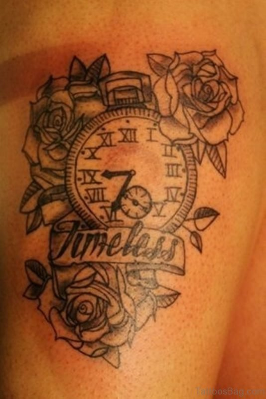 Rose Clock Tattoo On Upper Thigh