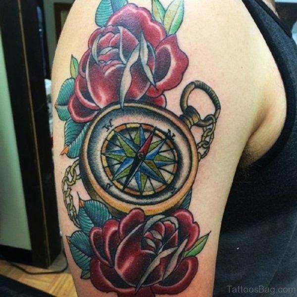 Rose Compass Tattoo
