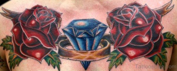 Rose Diamond Tattoo On Chest