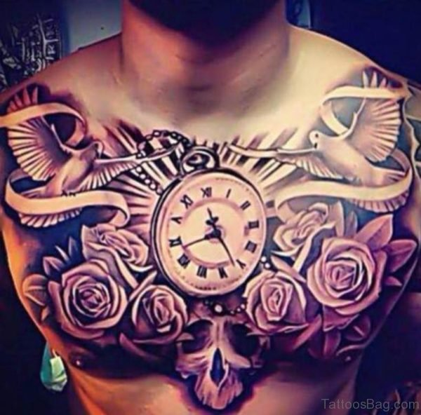 Rose Flower And Clock Tattoo