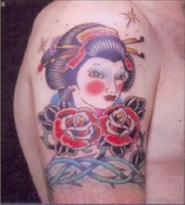 Rose Flower And Geisha Tattoo