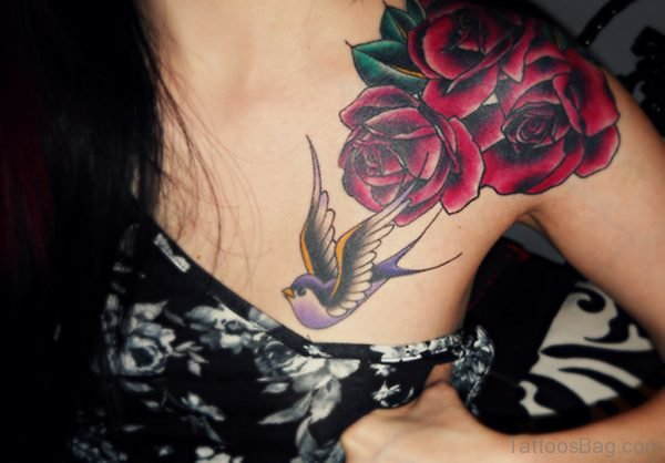 Rose Flower And Hummingbird Tattoo