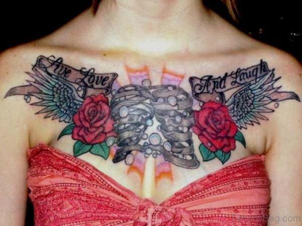 Rose Flower Chest Tattoo