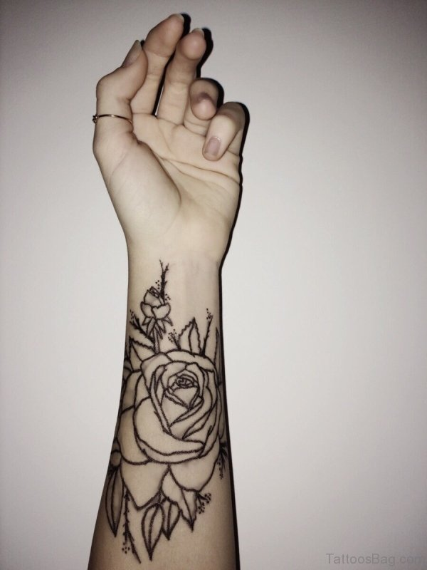 Rose Flower Tattoo On Arm