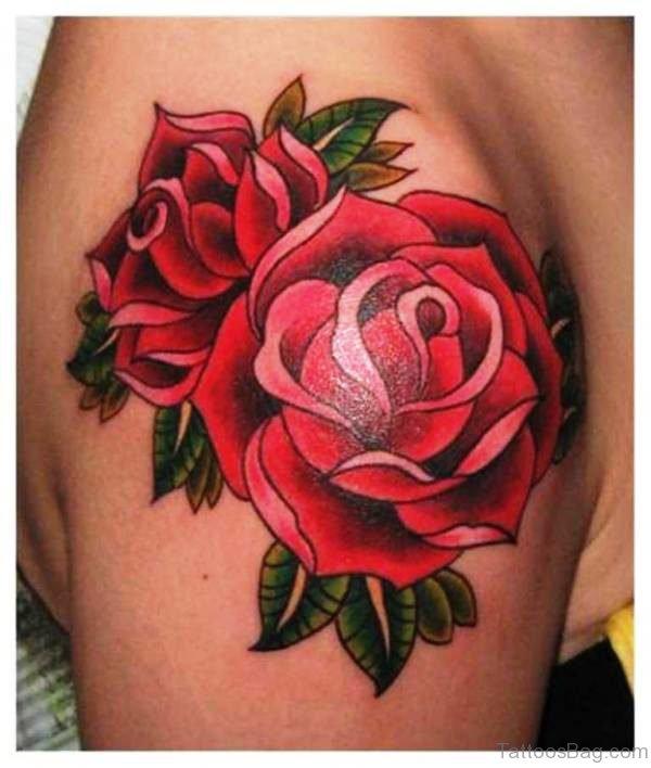 Rose Flowers Tattoo On Left Shoulder