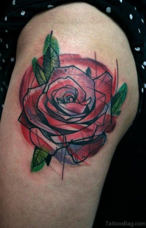Rose Geometric Tattoo Design