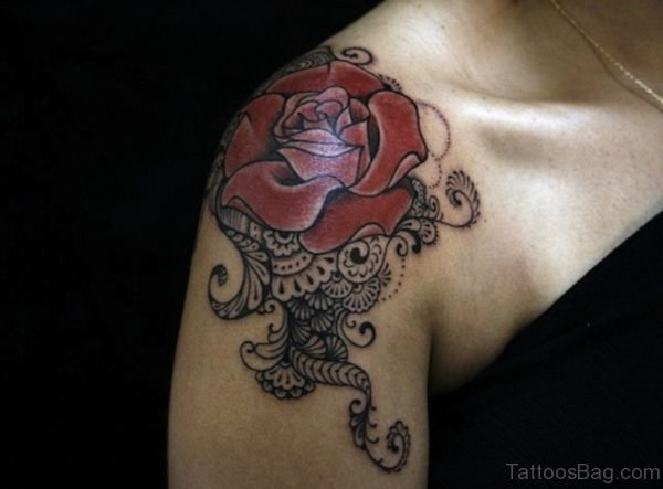 Rose Lace Shoulder Tattoo