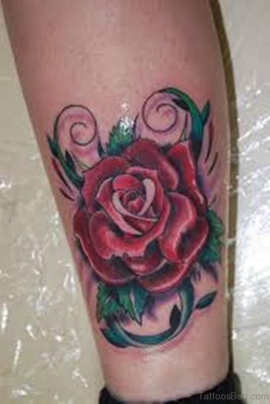 Rose Tattoo Design On Leg
