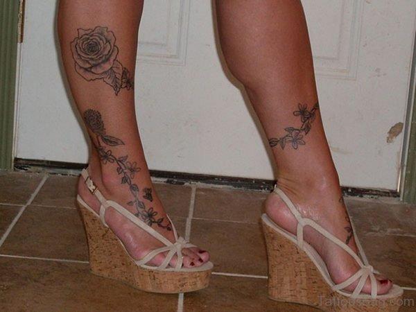 Rose Tattoo For Women Leg