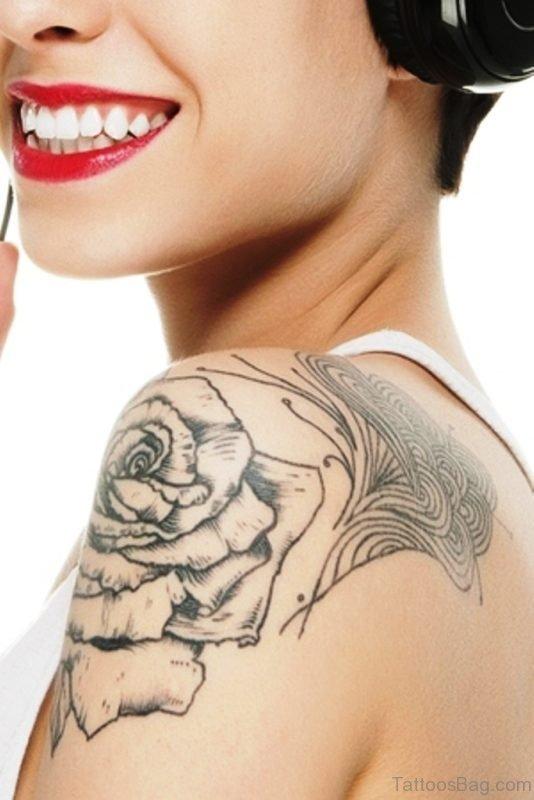 Rose Tattoo Outline On Shoulder