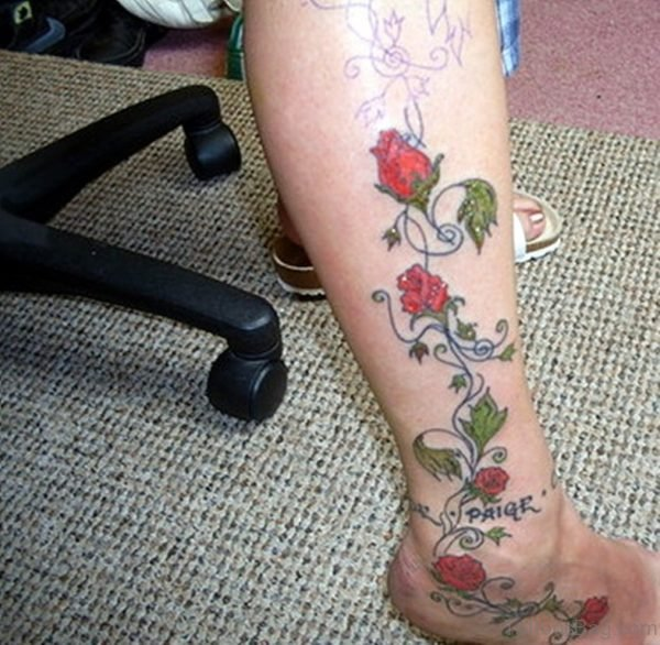 Rose Vine Lower Leg Tattoo Design