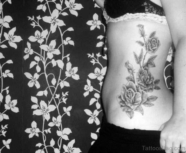 Rose Vine Tattoo On Rib