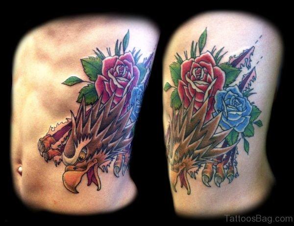 Roses And Eagle Tattoo