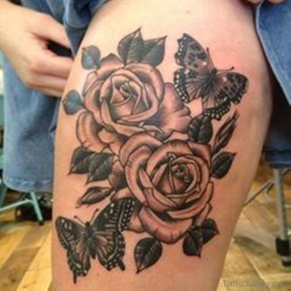Roses With Grey Butterfly Tattoo On Thigh