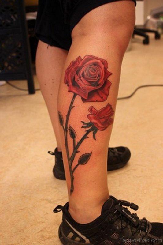 Roses tattoos red leg