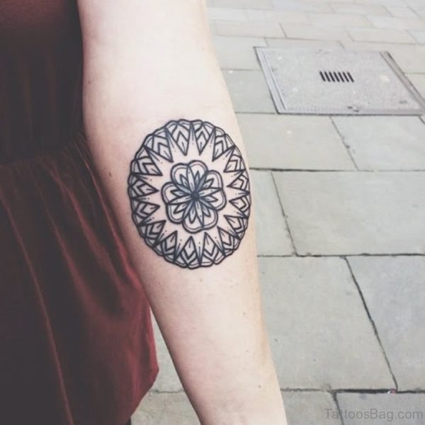 Round Mandala Tattoo On Arm