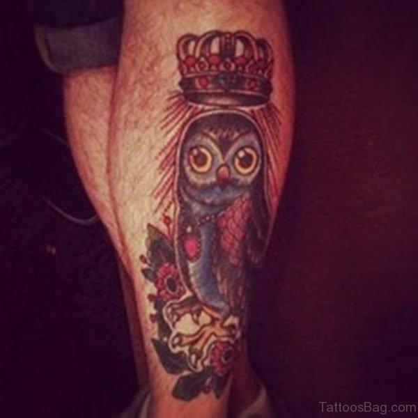 Royal Owl Tattoo On Leg