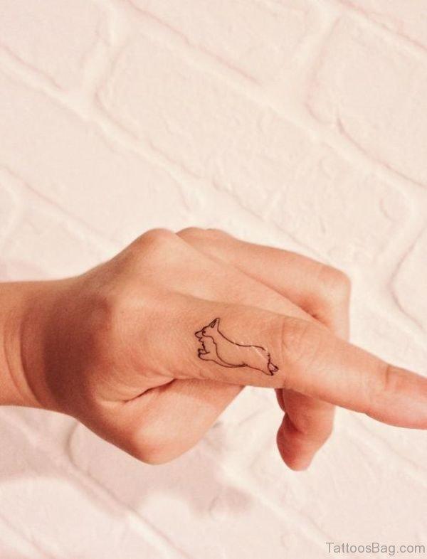 Running Dog Tattoo On Finger