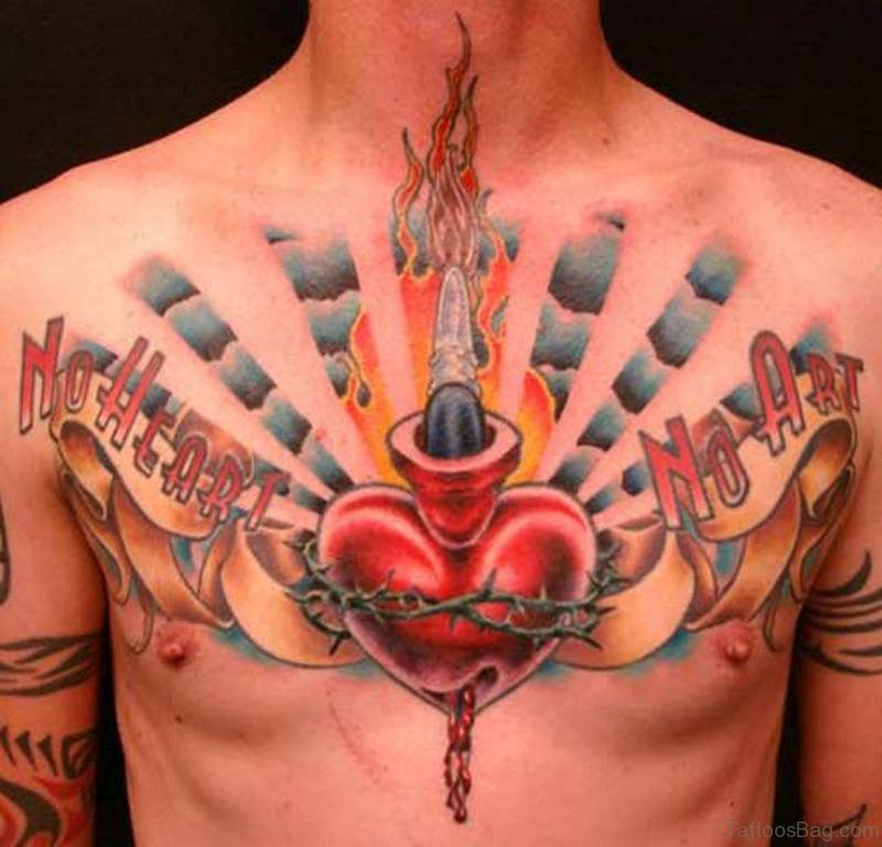8910933e898b4 Sacred Heart With Ribbon Tattoo On Man Chest