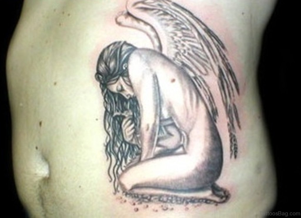 58 fancy angel tattoos for rib. Black Bedroom Furniture Sets. Home Design Ideas