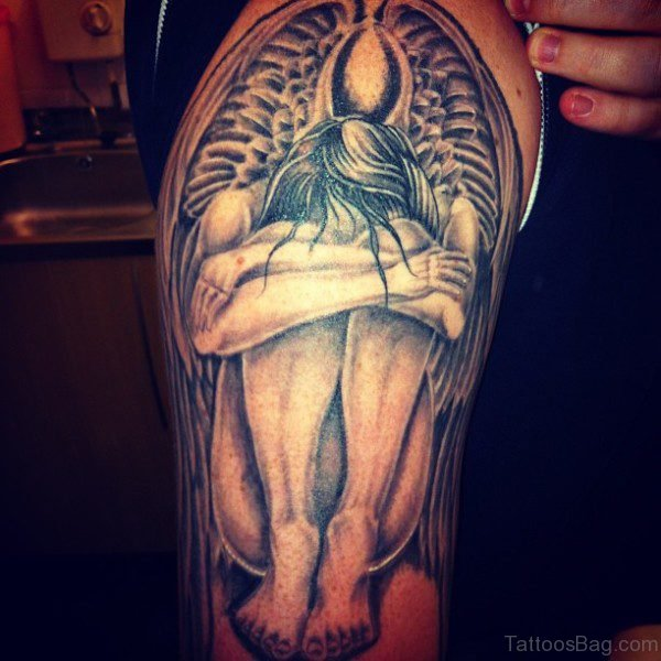66 nice half sleeve shoulder tattoos for Angel half sleeve tattoo