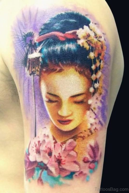 Sad Geisha On Shoulder