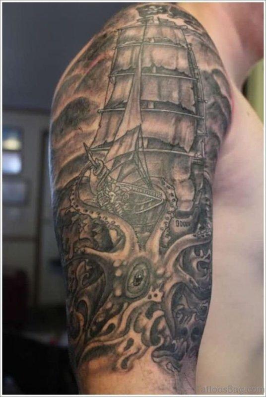 Sailor Half Sleeves Shoulder Tattoo