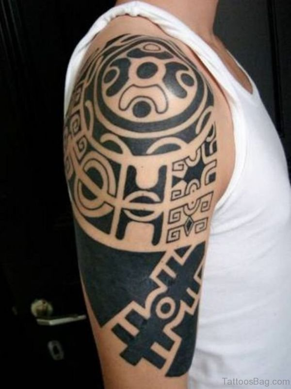 Samoan Design Tattoo On Left Shoulder