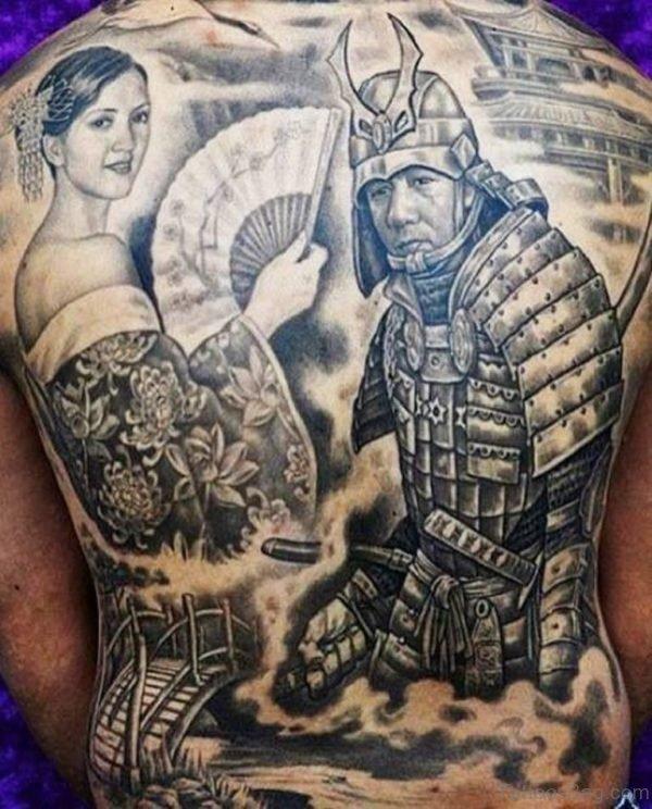 Samurai And Geisha Back Tattoo