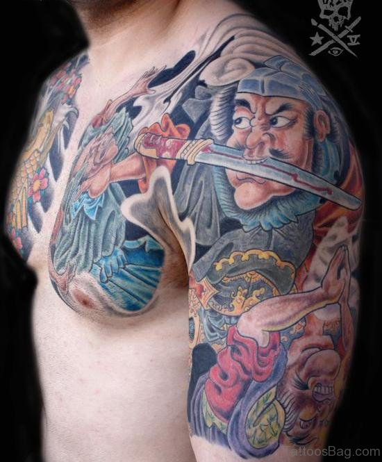Samurai Asian Tattoo Design On Chest