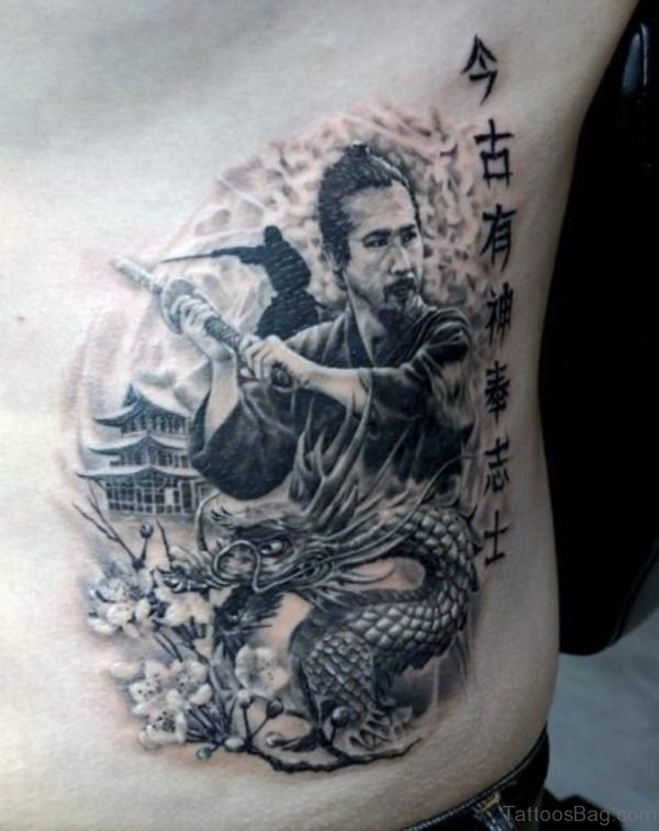Samurai Fighting Dragon Mens Tattoo