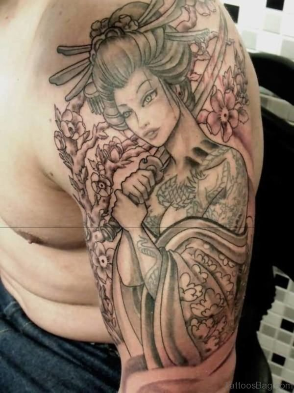Samurai Geisha Tattoo On Shoulder