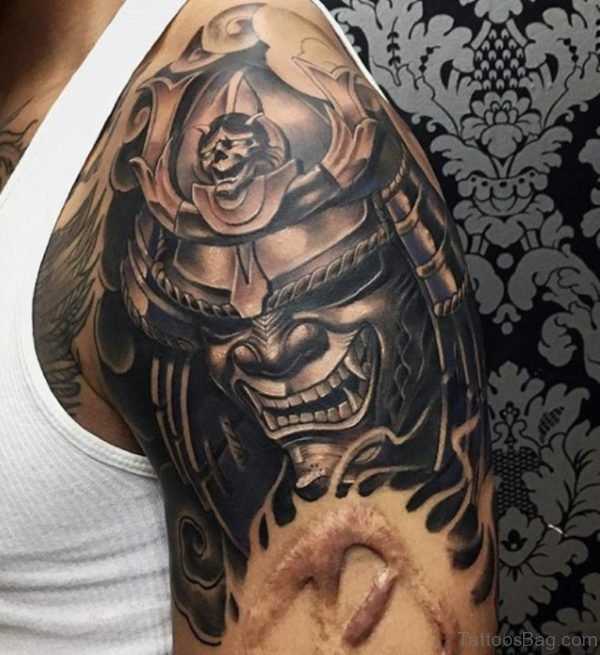 Samurai Mask Shoulder Tattoo