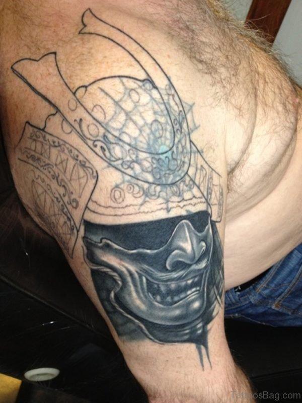 Samurai Mask Tattoo On Shoulder For Men