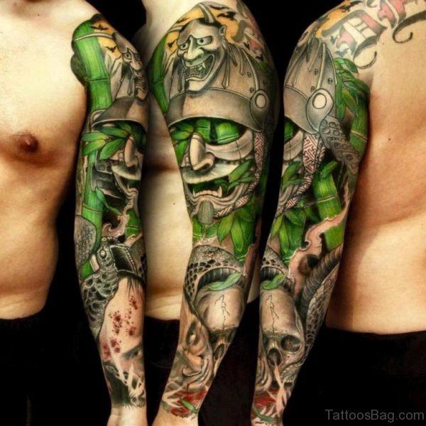 Samurai Warrior with Kabuki Mask Tattoo