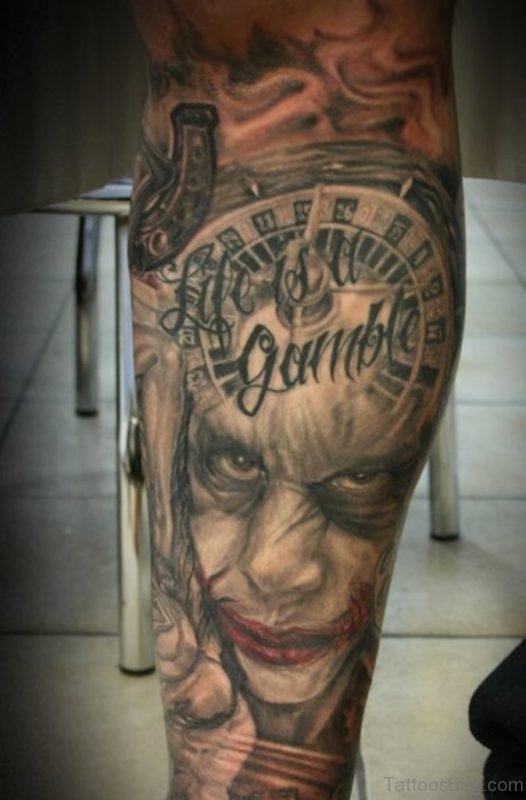Scary Joker Face Tattoo On Leg
