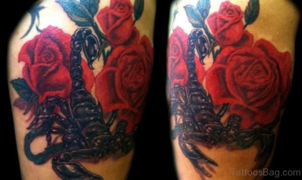 Scorpion and Roses Tattoo On the Left Shoulder