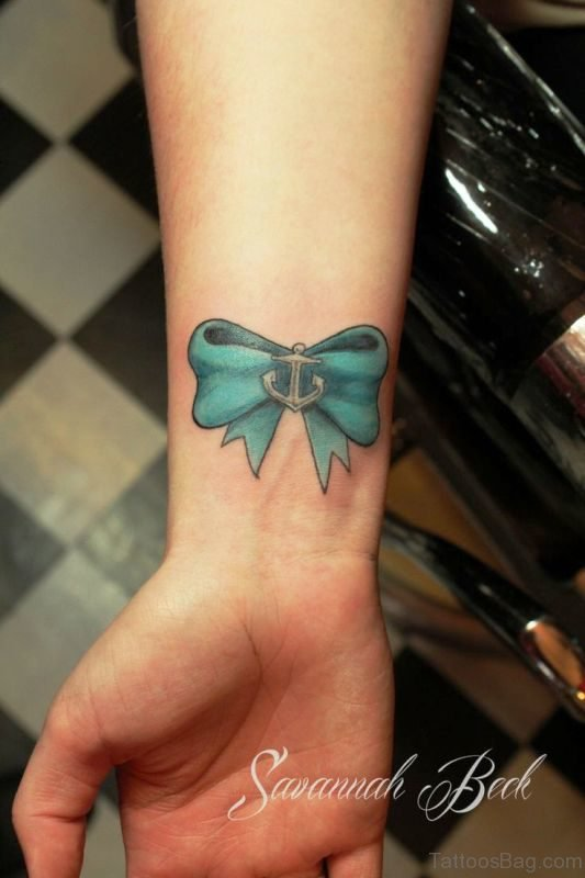 Sea Green Bow With Anchor On Wrist