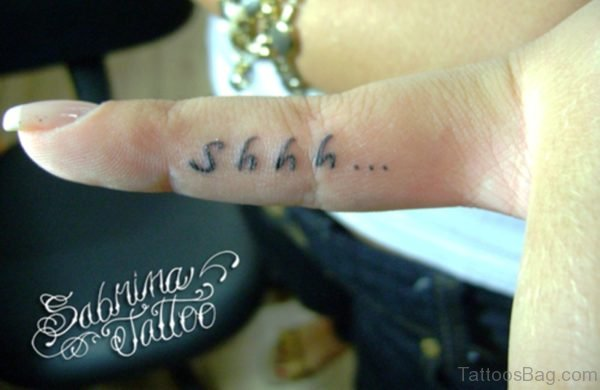 Shh Tattoo On Side Finger