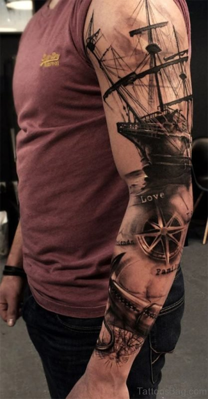 Ship And Compass Tattoo